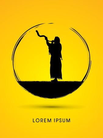 yom: A Man Blowing the shofar , designed using grunge brush graphic vector. Illustration