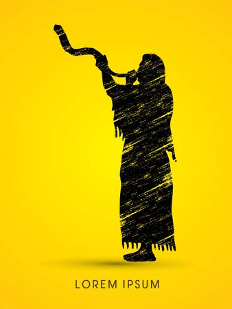 sukkah: A Man Blowing the shofar , designed using grunge brush graphic vector. Illustration