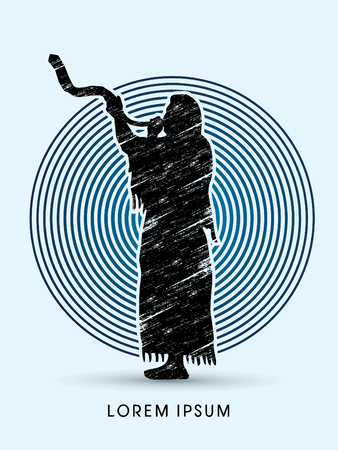 shofar: A Man Blowing the shofar  , designed on  circle line background graphic vector.