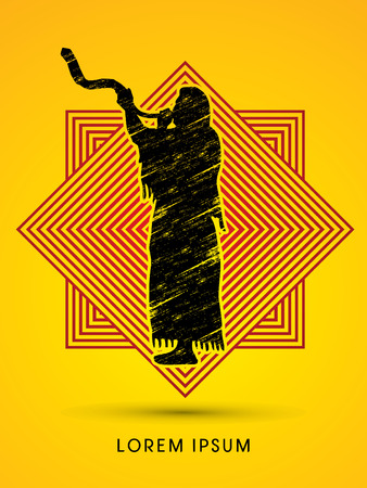shofar: A Man Blowing the shofar , designed using grunge brush on line square background graphic vector.