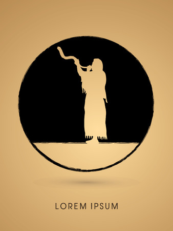 sukkah: A Man Blowing the shofar , designed using grunge brush on circle shape graphic vector.