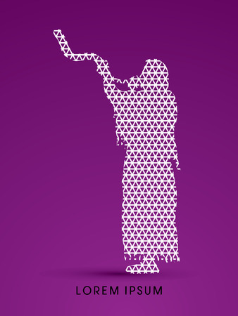 yom kippur: A Man Blowing the shofar , designed using line triangle pattern graphic vector. Illustration