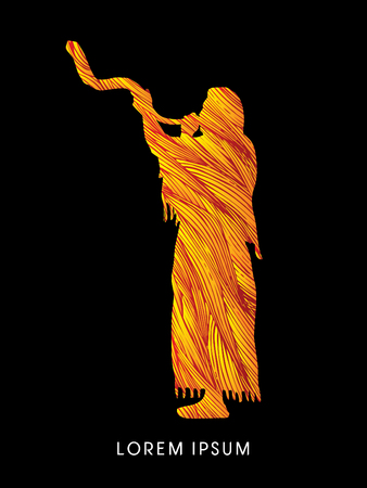 yom kippur: A Man Blowing the shofar , designed using fire brush graphic vector.