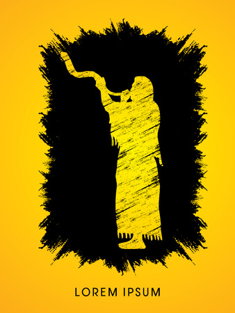 talit: A Man Blowing the shofar , designed using grunge brush on splash ink background graphic vector. Illustration