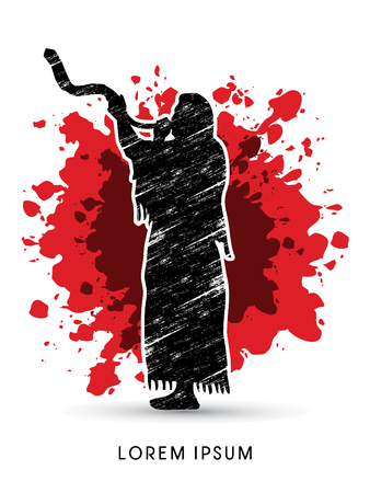 talit: A Man Blowing the shofar , designed on splash blood background graphic vector. Illustration