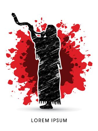 yom: A Man Blowing the shofar , designed on splash blood background graphic vector. Illustration