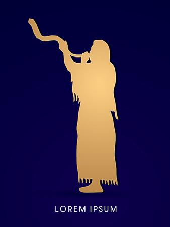 yom: A Man Blowing the shofar graphic vector. Illustration