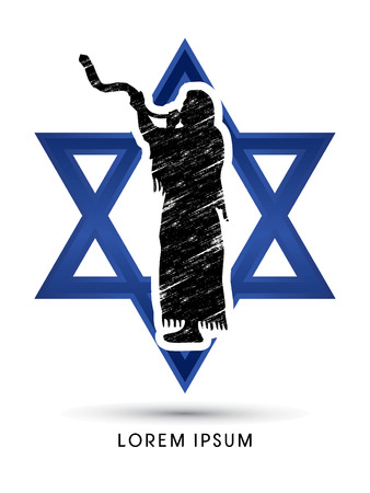 talit: A Man Blowing the shofar  , designed on Israel star background graphic vector.