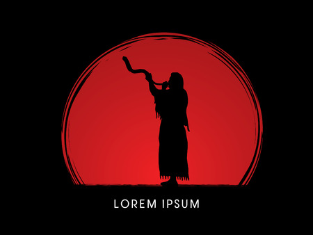 yom kippur: A Man Blowing the shofar  , designed on sunset background graphic vector. Illustration