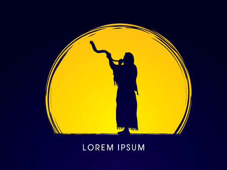yom kippur: A Man Blowing the shofar  , designed on moonlight background graphic vector.