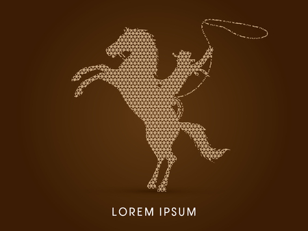 bucking horse: Silhouette, Cowboy on bucking horse with lasso, designed using line geometric pattern graphic vector.