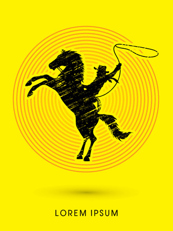 bucking horse: Silhouette, Cowboy on bucking horse with lasso, designed using grunge brush on line circle background graphic vector.