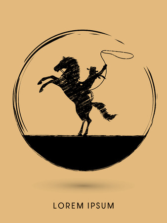 bucking horse: Silhouette, Cowboy on bucking horse with lasso, designed using grunge brush graphic vector.