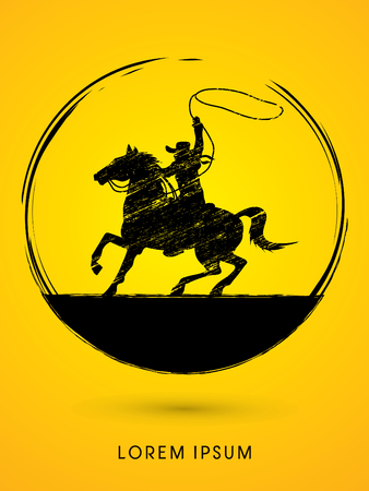 bucking horse: Cowboy on bucking horse running with lasso graphic vector.