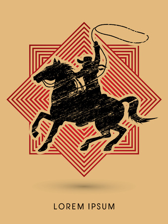 bandana western: Cowboy on bucking horse running with lasso, designed using grunge brush on line square graphic vector.