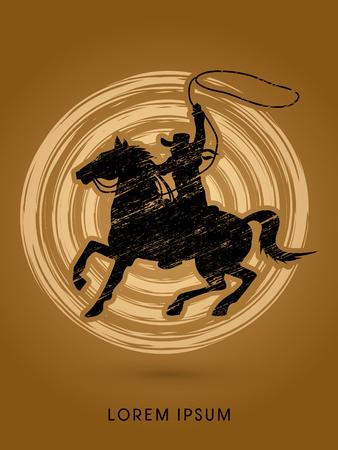 bucking horse: Cowboy on bucking horse running with lasso, designed using grunge brush on grunge circle graphic vector.