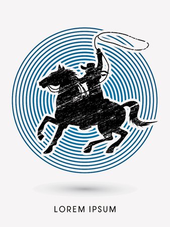 bucking horse: Cowboy on bucking horse running with lasso, designed using grunge brush on line circle graphic vector.