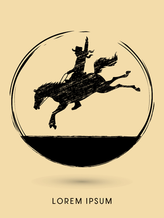 Cowboy on bucking horse jumping, design using grunge brush graphic vector.
