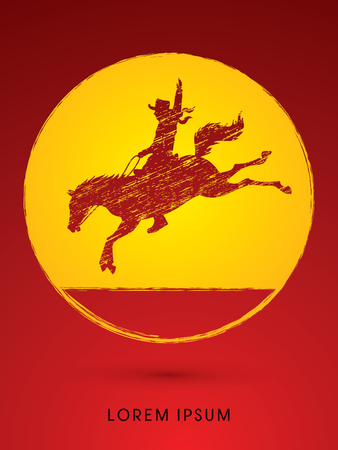 Cowboy on bucking horse jumping, design using grunge brush on grunge circle background graphic vector.