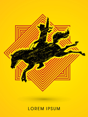 bronco: Cowboy on bucking horse jumping, design on line square background graphic vector.
