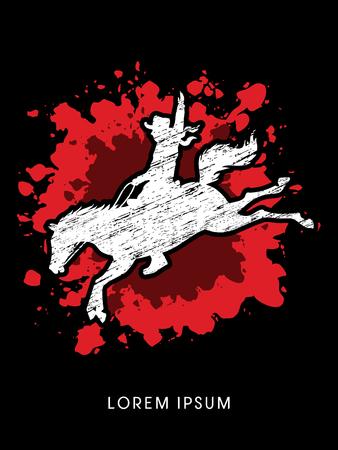 bucking bronco: Cowboy on bucking horse jumping, design using grunge brush on splash blood background graphic vector.