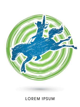 bucking horse: Cowboy on bucking horse jumping, design using grunge brush on grunge circle background graphic vector.