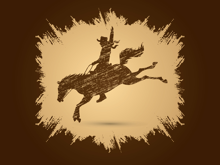 bucking horse: Cowboy on bucking horse jumping, design using grunge brush on splash brush background graphic vector. Illustration