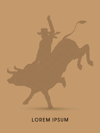 bucking bronco: Cowboy on bucking cow jumping, design using dot and spots graphic vector.