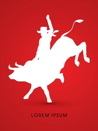 bucking bull: Cowboy on bucking cow jumping, design using grunge brush graphic vector. Illustration