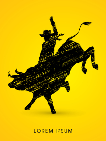 Cowboy on bucking cow jumping, design using grunge brush graphic vector. Illustration
