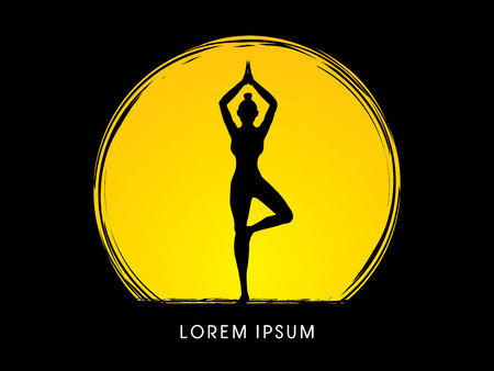 woman pose: Yoga pose designed using grunge brush on moonlight background graphic vector.