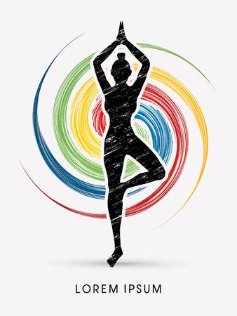 poses: Yoga pose designed using grunge brush on spin wheel background graphic vector.