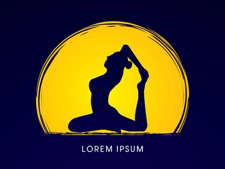 women yoga: Yoga pose design on moonlight background graphic vector.