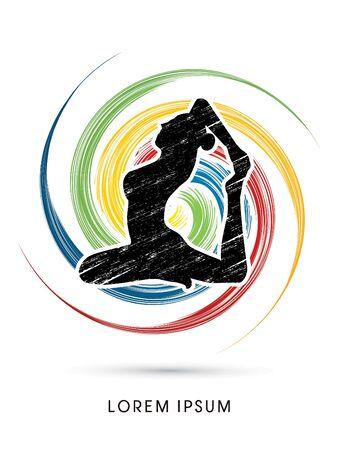 body massage: Yoga pose design on spin wheel background graphic vector. Illustration