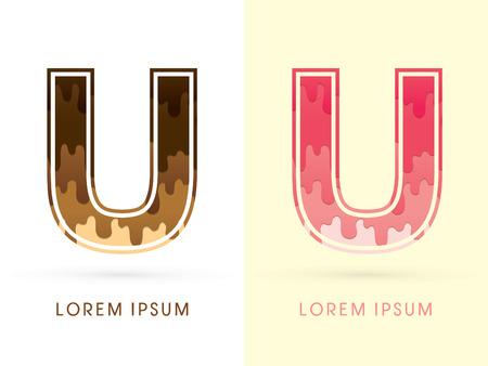 melt: U Font , Chocolate and strawberry melt graphic vector Illustration