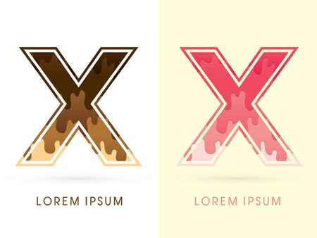 liquid x: X Font , Chocolate and strawberry melt graphic vector Illustration