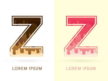 melt: Z Font , Chocolate and strawberry melt graphic vector