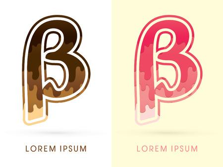 beta: Beta Font , Chocolate and strawberry melt graphic vector Illustration