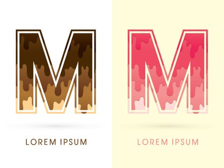 melt: M Font , Chocolate and strawberry melt graphic vector