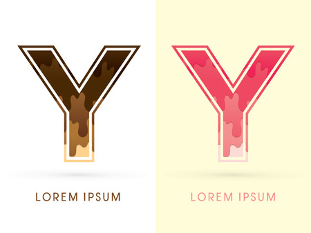 melt: Y Font , Chocolate and strawberry melt graphic vector Illustration