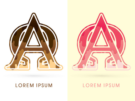 melt: Alpha and omega Font , Chocolate and strawberry melt graphic vector