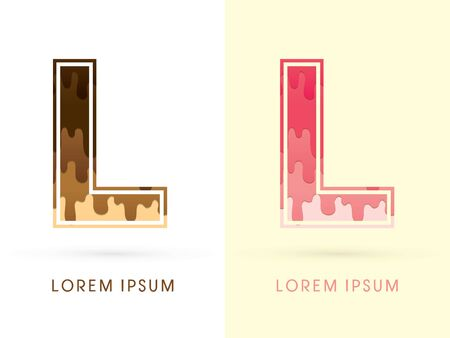 L Font , Chocolate and strawberry melt graphic vector