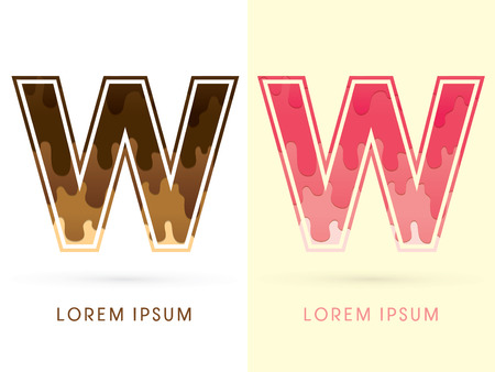 melt: W Font , Chocolate and strawberry melt graphic vector Illustration