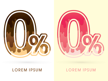 melt: 0, zero percent Font Number, Chocolate and strawberry melt graphic vector Illustration