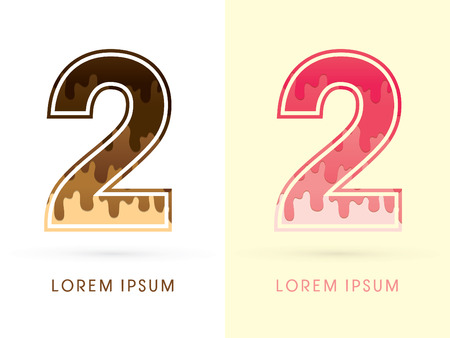 melt: 2 Font Number, Chocolate and strawberry melt graphic vector