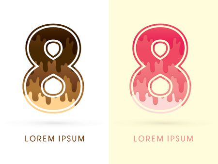 melt: 8 Font Number, Chocolate and strawberry melt graphic vector