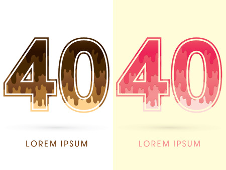 melt: 40 Font Number, Chocolate and strawberry melt graphic vector