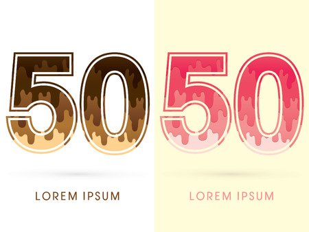 50 number: 50 Font Number, Chocolate and strawberry melt graphic vector