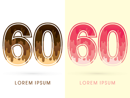 melt: 60 Font Number, Chocolate and strawberry melt graphic vector