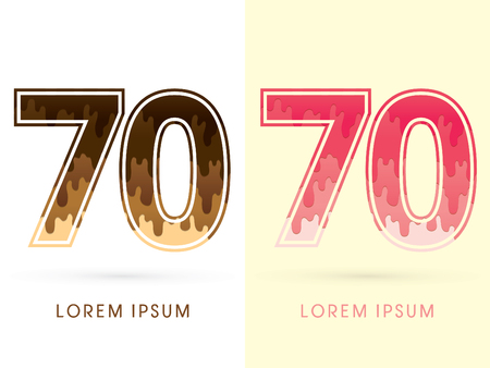 melt: 70 Font Number, Chocolate and strawberry melt graphic vector